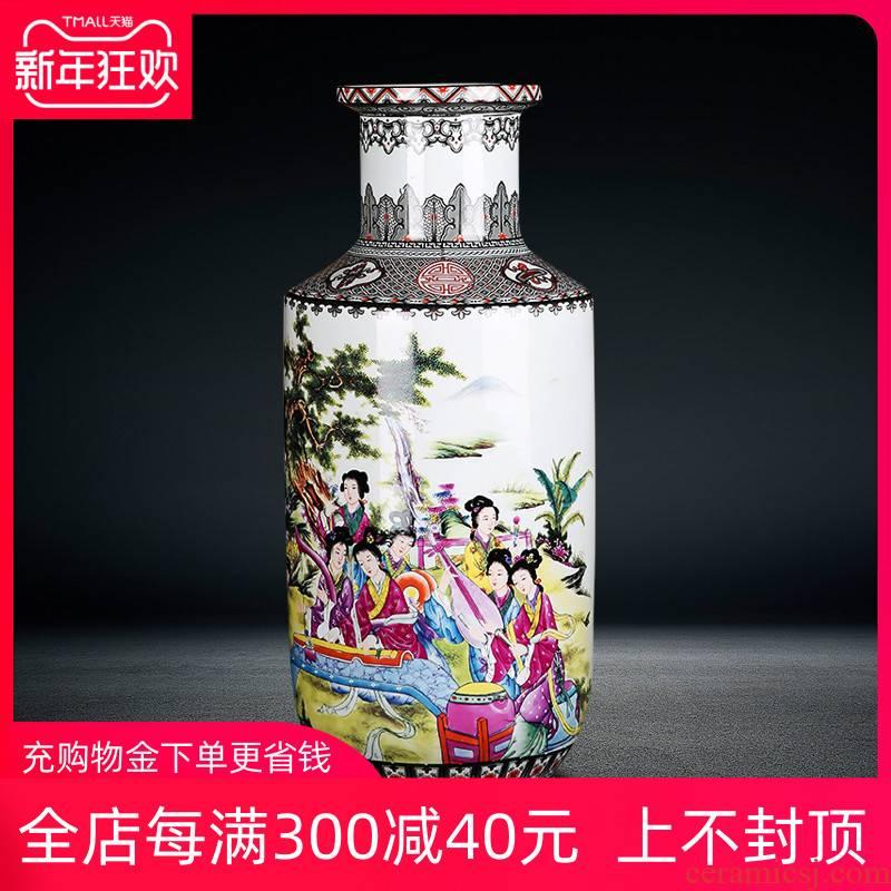 Jingdezhen ceramics archaize floor big vase twelve gold hair pin high dry flower arrangement sitting room furniture furnishing articles ornaments