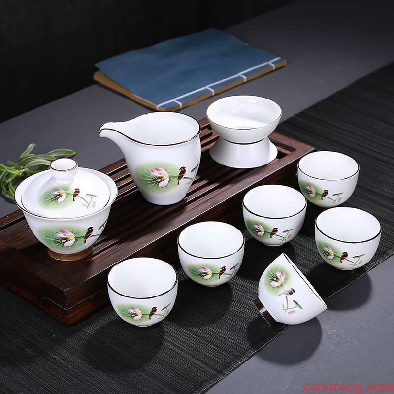 Up with matte enrolled glaze porcelain kung fu tea set gift boxes of a complete set of zen ceramic tea sets of household gift customization