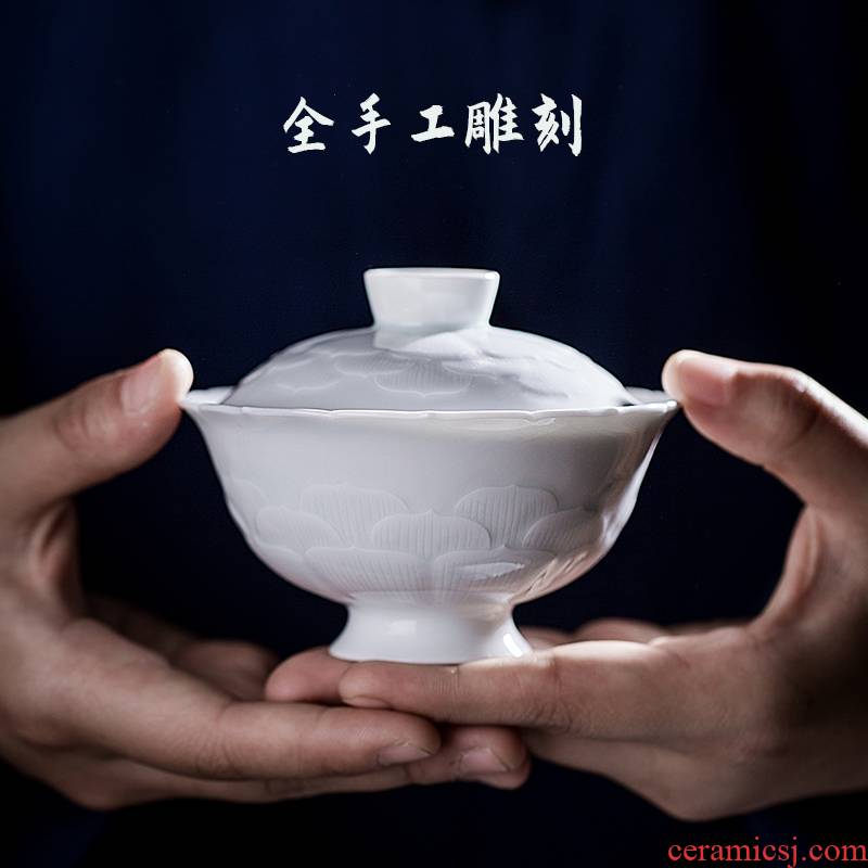 24 is pure manual tea cup three tureen only single jingdezhen ceramic kung fu tea set white porcelain carving
