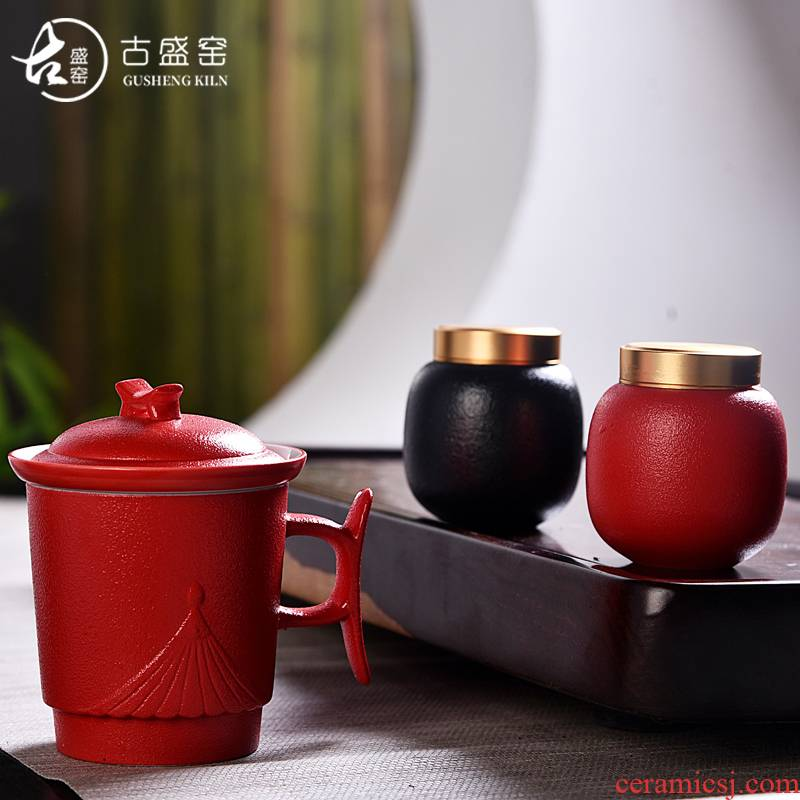 Ancient office cup sheng up porcelain keller with cover filter office cup tea cup zi lu bao tin lid caddy fixings