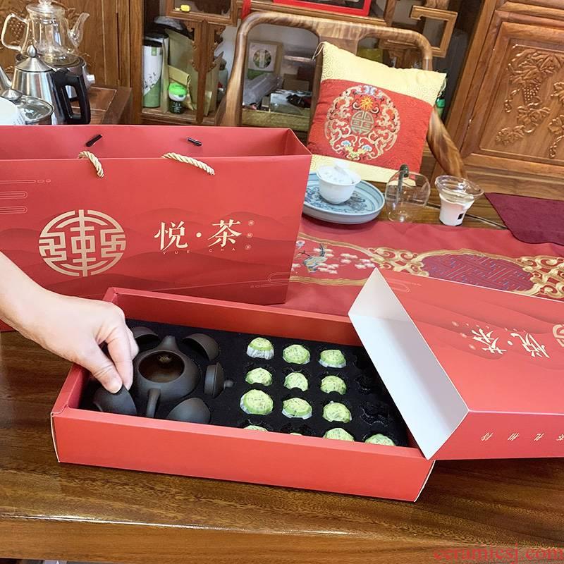 Purple sand tea set to send gift boxes kung fu tea tea tea tureen gift high - grade visitor pu 'er who was mandarin