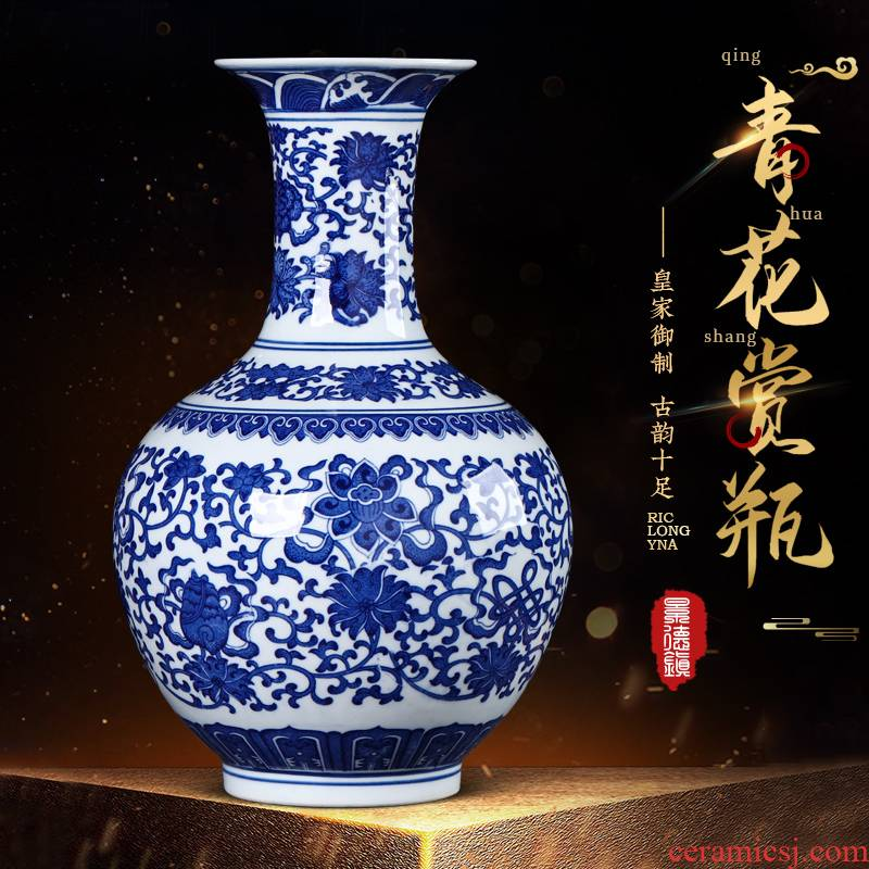 Jingdezhen ceramics antique flower arranging Chinese style household adornment blue and white porcelain vase is placed in the sitting room porch handicraft