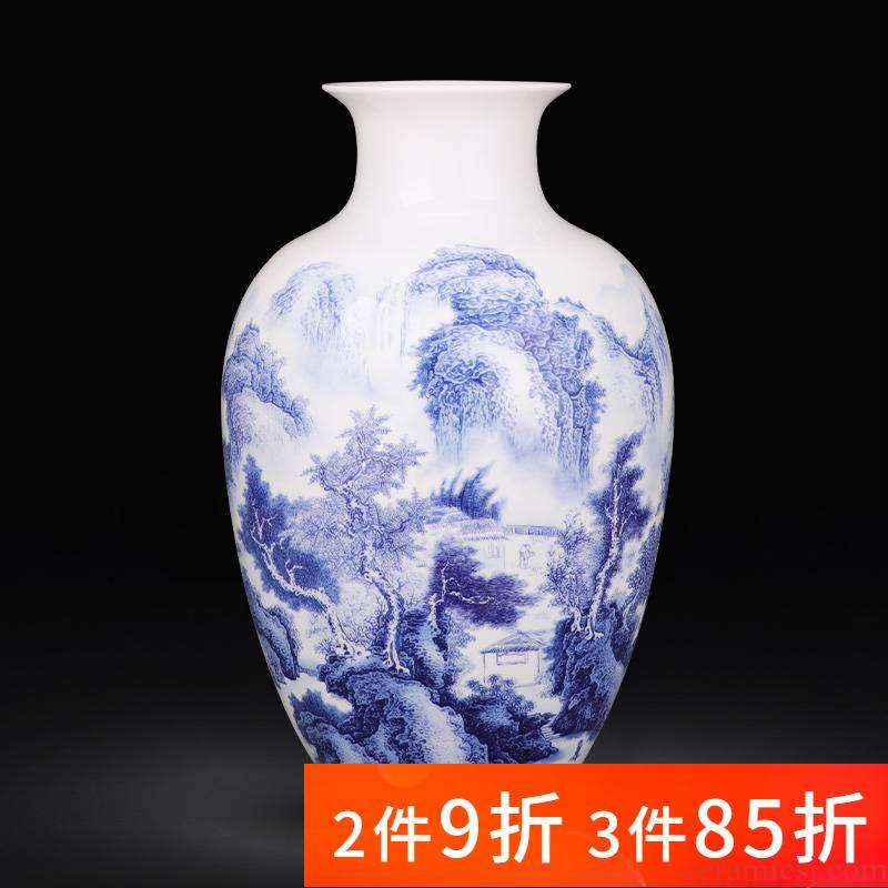 Jingdezhen porcelain ceramic landscape of blue and white porcelain vases, flower arranging place, Chinese style household living room TV cabinet decoration