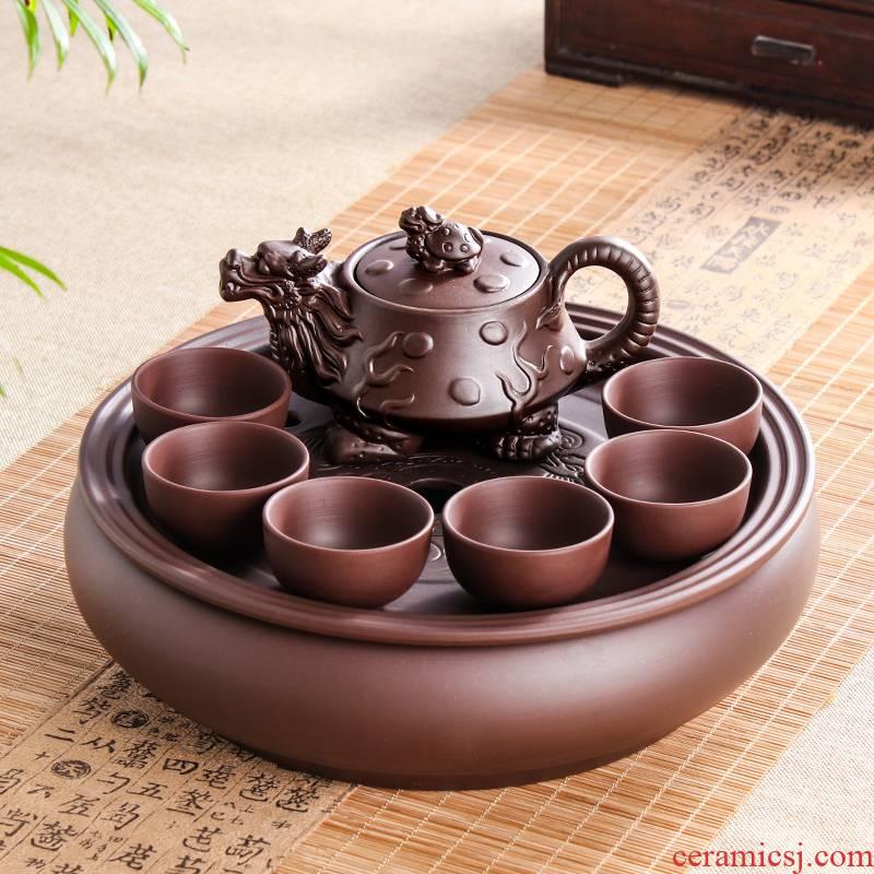 Yixing purple sand kung fu tea set suit modern household contracted circular make tea tea tray ceramic teapot teacup set
