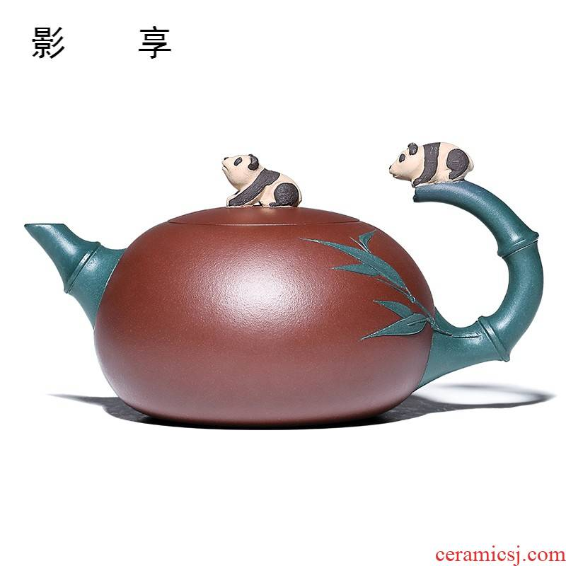 Shadow at yixing are it by the manual undressed ore purple clay household pot of panda bamboo MCYH teapot tea sets