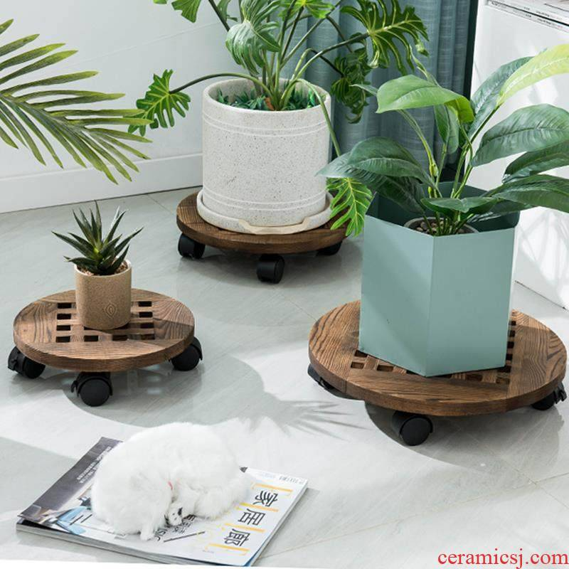 Roll base mobile flowerpot towing round tray was solid wood with thick bottom round universal belting leather wheeled chassis receptacle