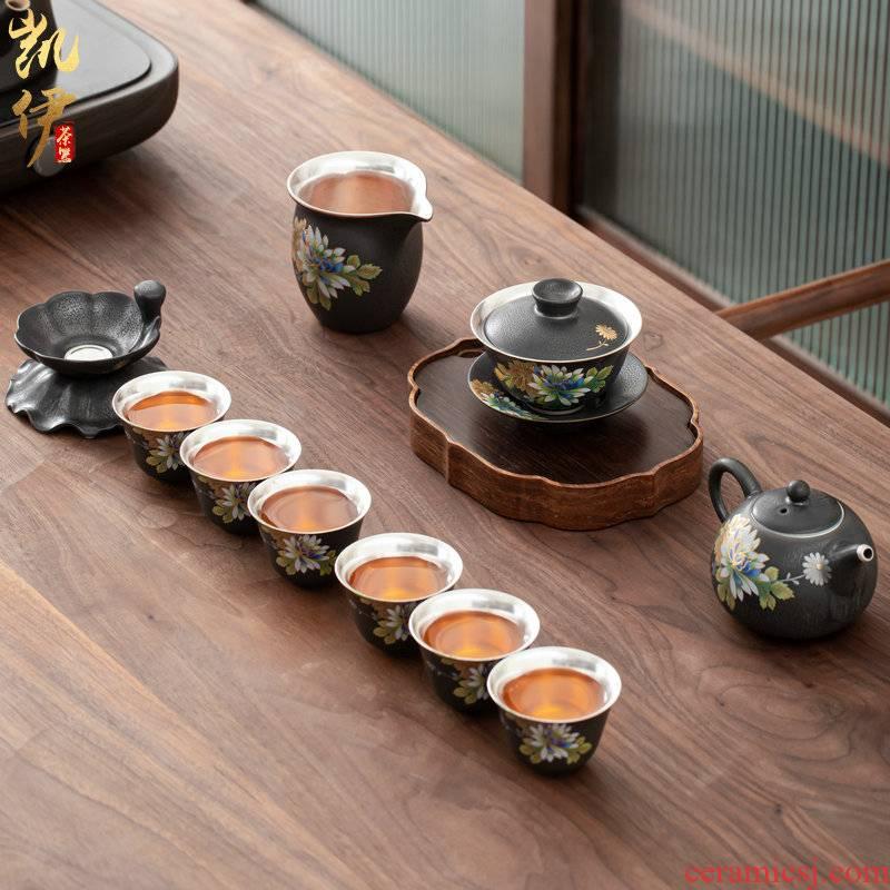 Tasted silver gilding elegant tea set suit household jingdezhen ceramic kung fu tea tea tureen teapot silver cup