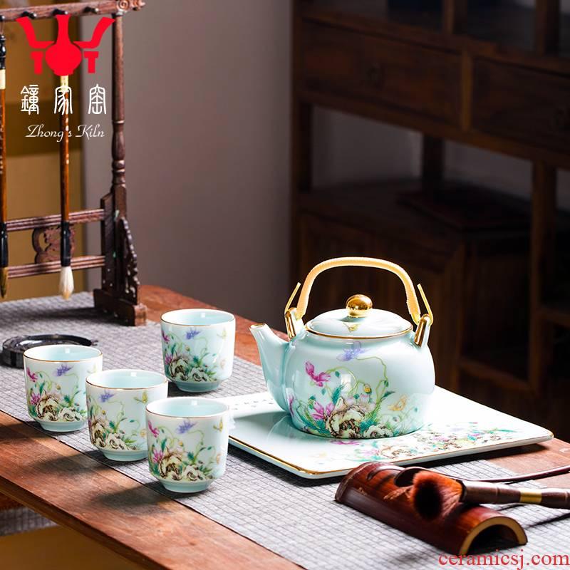 Clock home up of a complete set of domestic high - end tea tea sets jingdezhen colored enamel tea service office small tea table