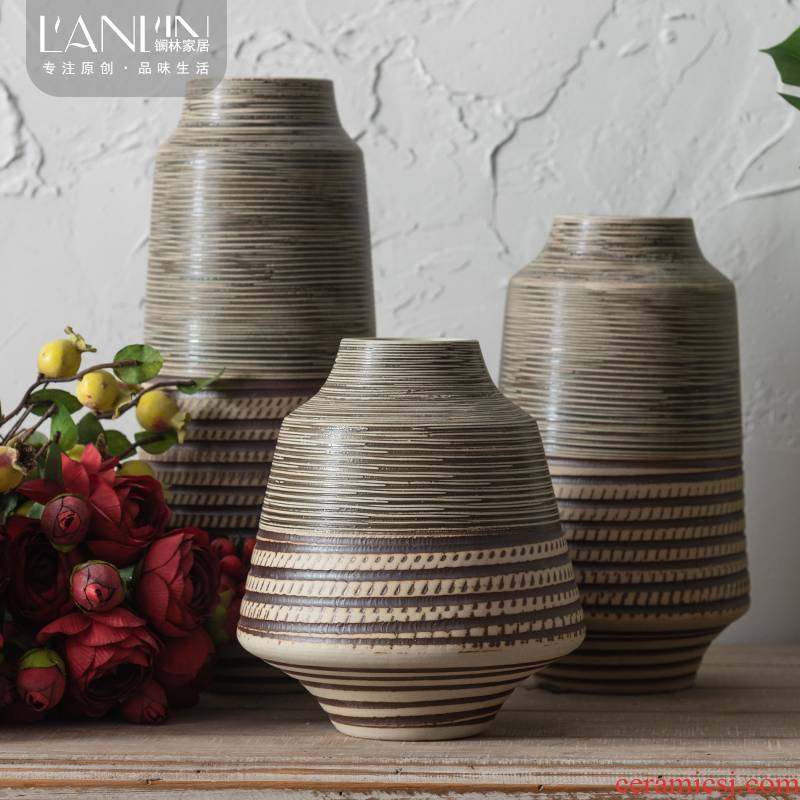 Zen ceramic vase Nordic creative contracted sitting room flower arranging new Chinese style thick some ceramic pot dry flower adornment small place