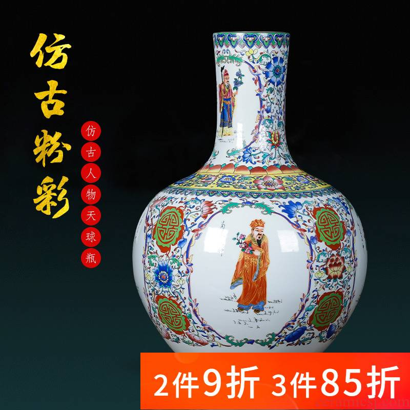 Jingdezhen porcelain ceramic floor archaize pastel big vase furnishing articles sitting room of Chinese style household adornment TV ark