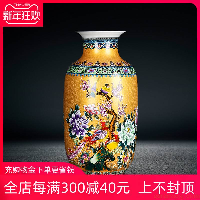Jingdezhen ceramics high ground large living room home furnishing articles to decorate the red blue vase painting of flowers and colored enamel