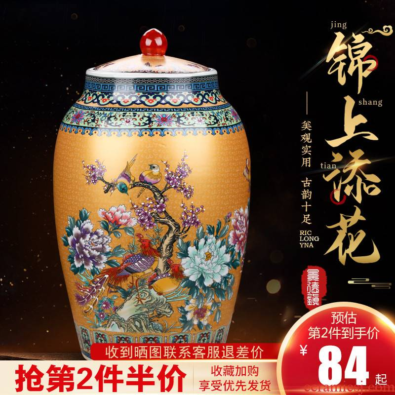 Jingdezhen ceramics 20 jins with cover barrel 30 jins moistureproof insect - resistant household seal tank storage tank is 50 kg furnishing articles