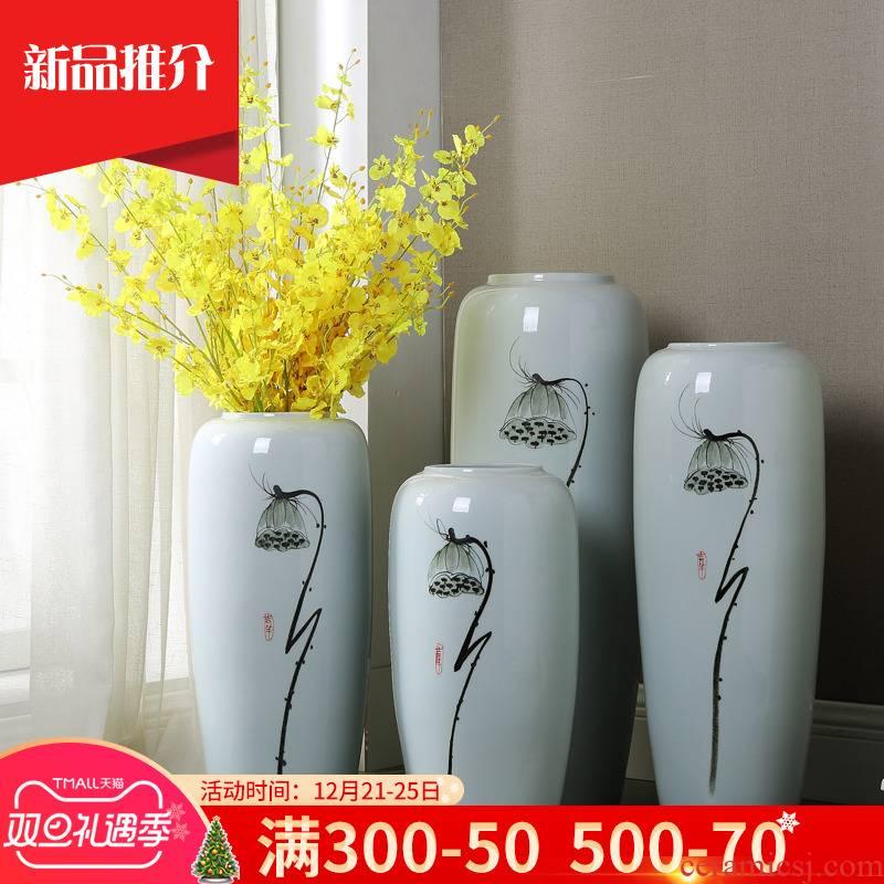 Jingdezhen ceramic big vase landing simulation flower arranging, home furnishing articles TV ark adornment of I sitting room