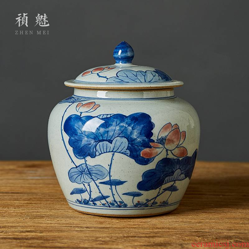 Shot incarnate the checking ceramic jingdezhen blue and white caddy fixings kung fu tea tea accessories hand - made storage wake sealed as cans