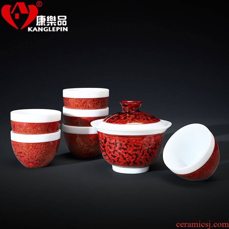 Recreational product lacquer tea set new Chinese style restoring ancient ways dehua white porcelain suet jade Chinese lacquer tureen Chinese lacquer ceramics by hand