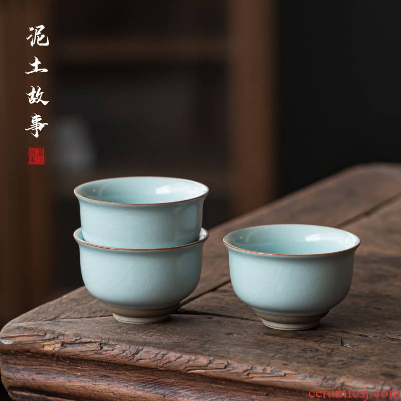 Jingdezhen pure manual your up with azure tea cup your porcelain open master CPU use natural open a cup of tea