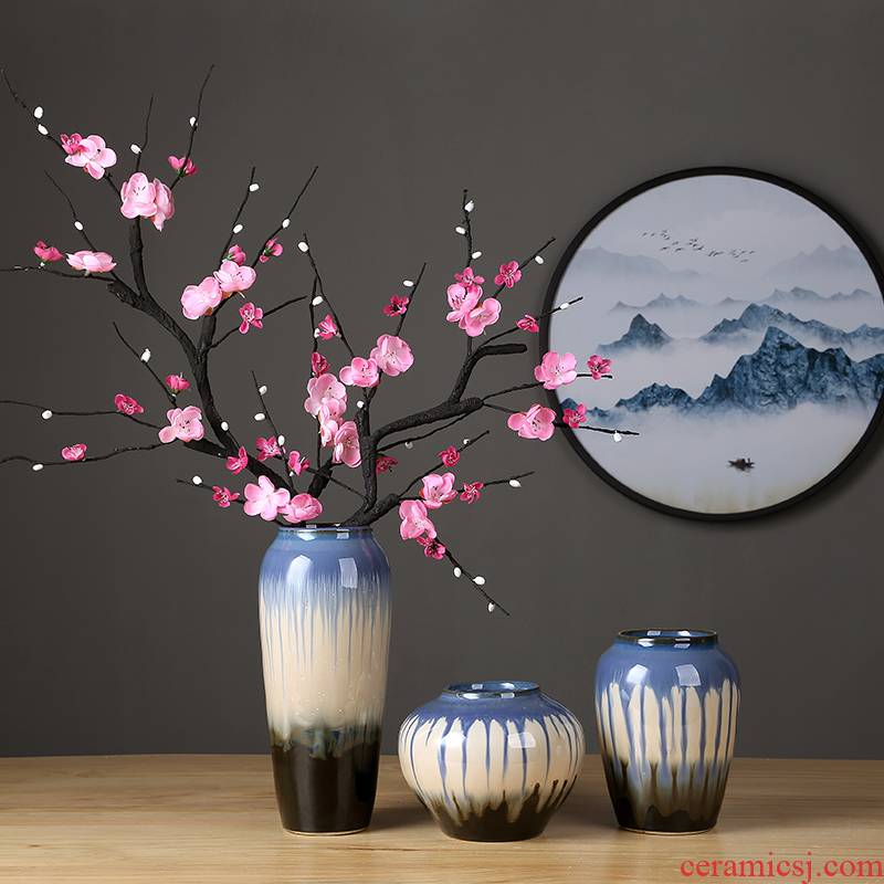 Insert jingdezhen ceramic vase dried flowers zen decorations furnishing articles sitting room porch new Chinese pottery vase