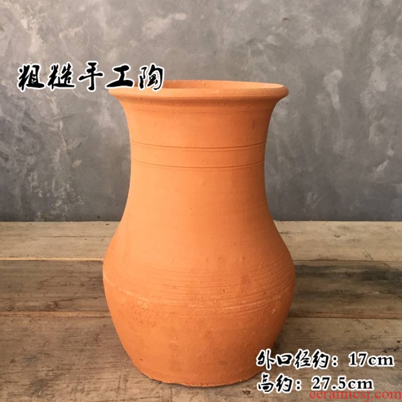 Restoring ancient ways to embellish make YangHong pot coarse pottery clay plugging vase dried flowers, large caliber manual earthenware, black pottery flower