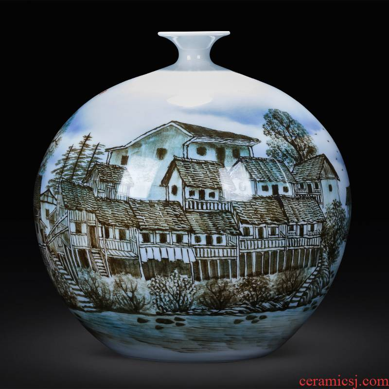 Jingdezhen ceramics hand - made color under the glaze of blue and white porcelain vase living room TV cabinet decoration of Chinese style household furnishing articles