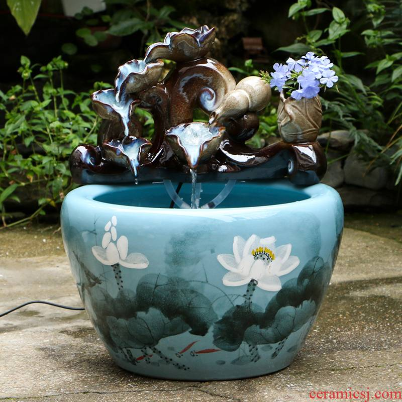Art spirit of jingdezhen ceramic fish small sitting room aquarium water fountain creative household humidifier water tank