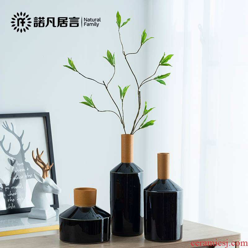 Ceramic vase, black mesa fuels the European ikebana furnishing articles I and contracted sitting room creative dried flower flower decoration