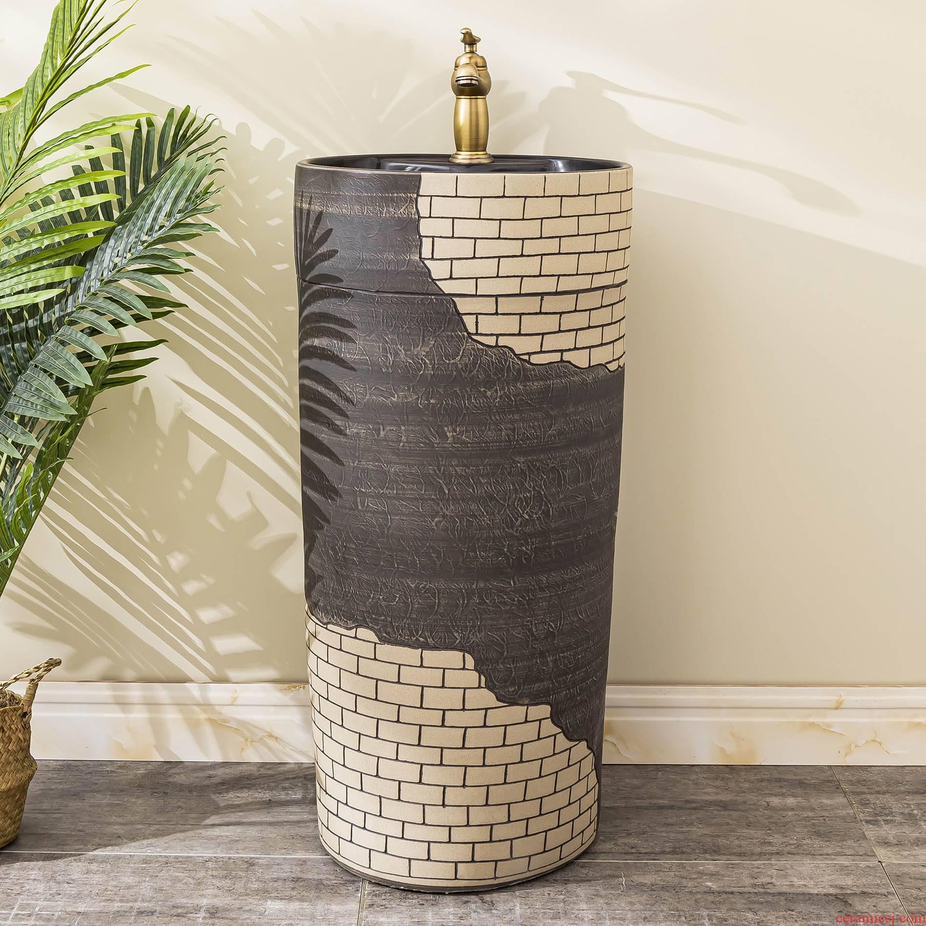 Ceramic floor pillar lavabo toilet lavatory basin balcony is suing household one column 1