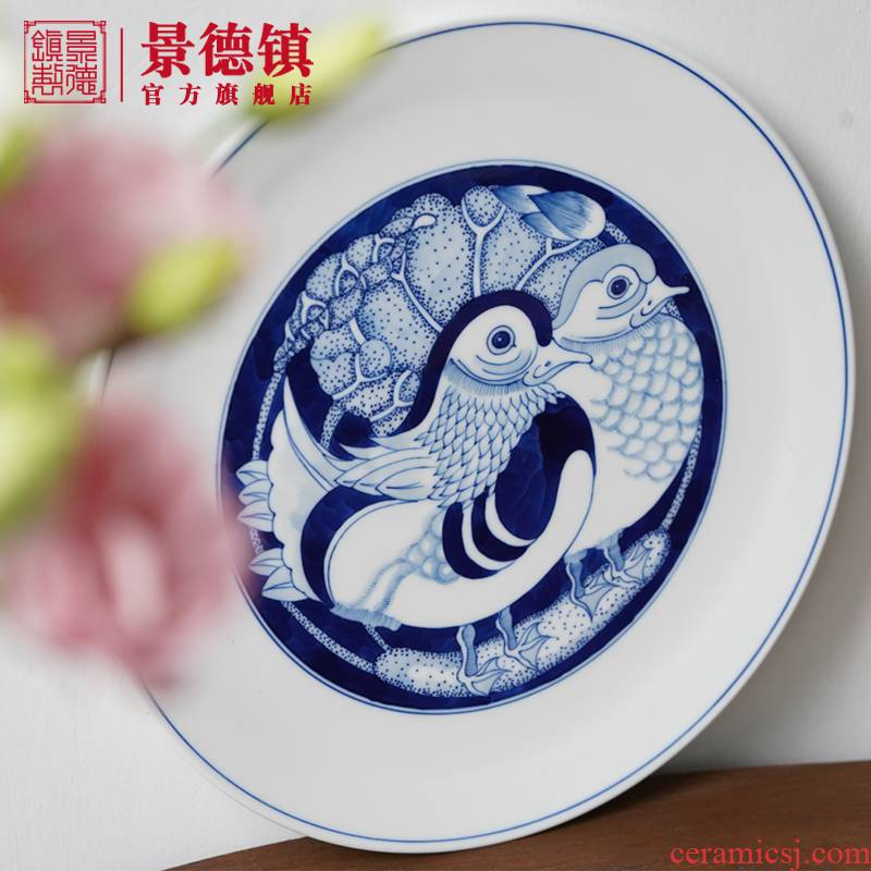 Jingdezhen flagship stores hand - drawn Chinese blue and white ceramics compote sitting room tea table compote high - end creative fruit tray