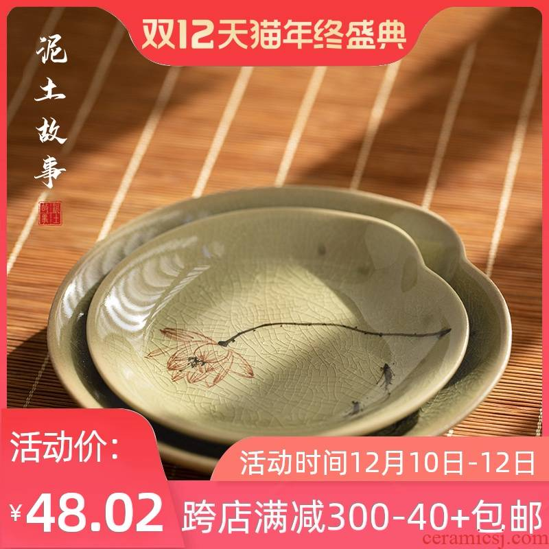 Jingdezhen hand - made lotus bearing dry ice to crack the up water pot mercifully Japanese home ceramic saucer plate heat insulation pads