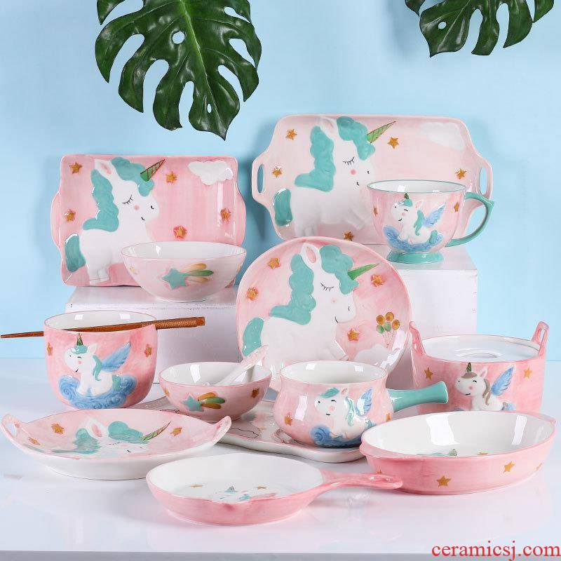 Love graces hand - made under glaze color porcelain the tableware unicorn series creative use of milk pan breakfast children rice bowls