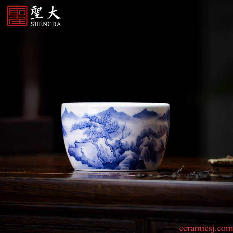 The big blue and white cliffs at cloud teacups hand - made ceramic kung fu master cup sample tea cup all hand of jingdezhen tea service