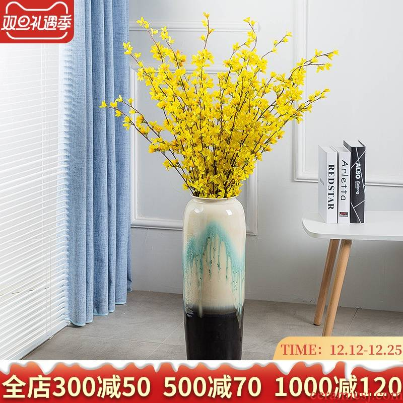 Ceramic large ground vase to decorate the sitting room is I and contracted household of Chinese style porch place high European flower arrangement