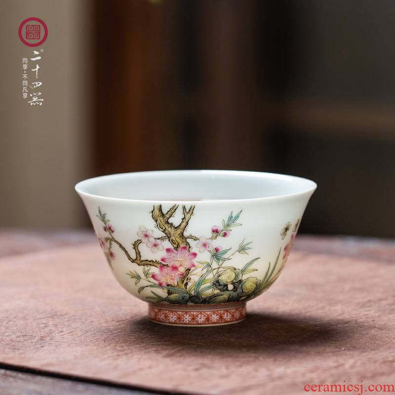 24 is pastel hand - made ms jingdezhen ceramic masters cup kung fu tea cup pure manual single single CPU