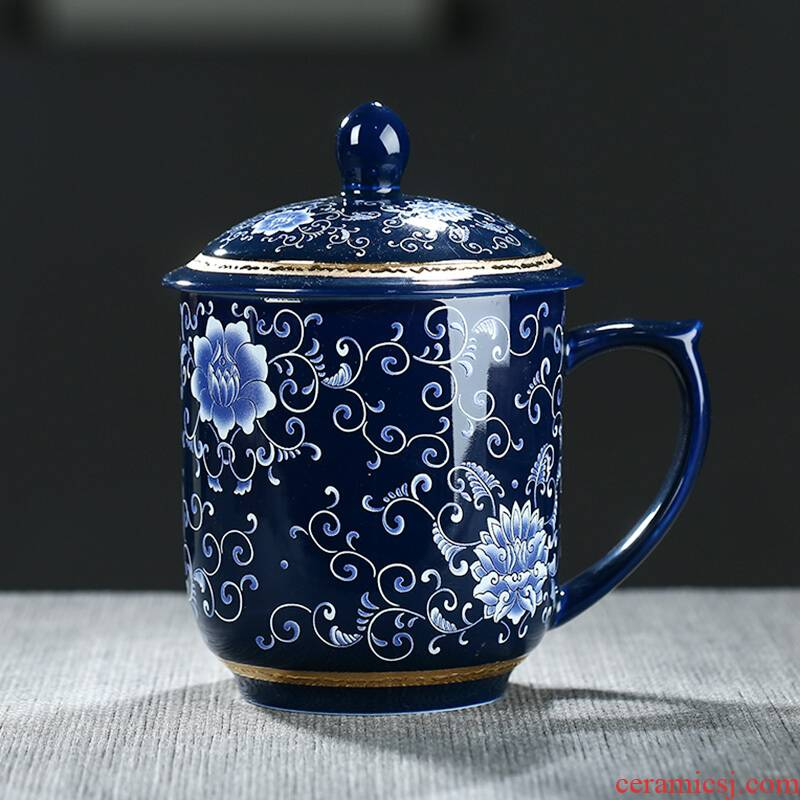 Poly real scene of jingdezhen ceramic cups office boss cup with cover with filtering household drinking water glass tea cup