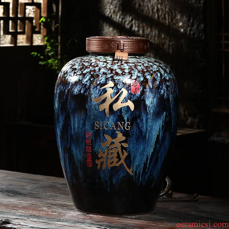 Jingdezhen ceramic bottle wine jar 20 jins 30 jins of 50 kg machine carved brewing cylinder household it restoring ancient ways