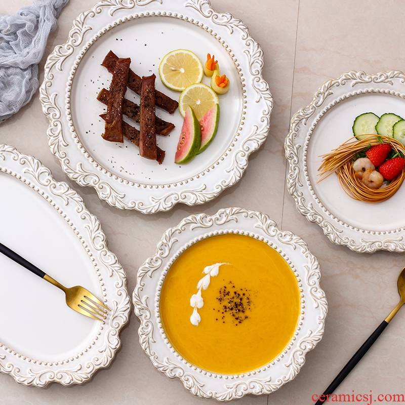 French style restoring ancient ways anaglyph ears dish creative disc western - style food dish fish dish home fruit bowl dessert plate ceramic tableware