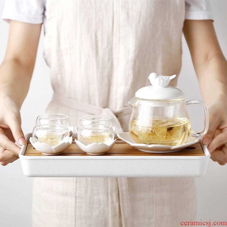 Japanese contracted English afternoon tea ceramic glass summer health tea tea set fruit camellia tea pot