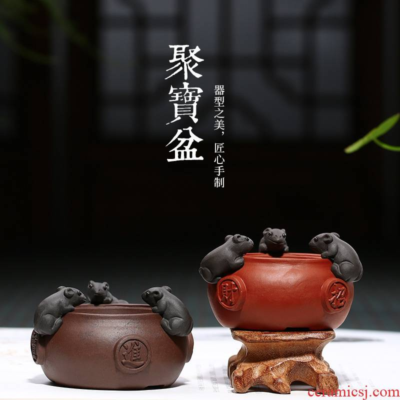 Yixing purple sand cornucopia tea pet purple mud all hand its mouse pet play tea tea tea tea small place