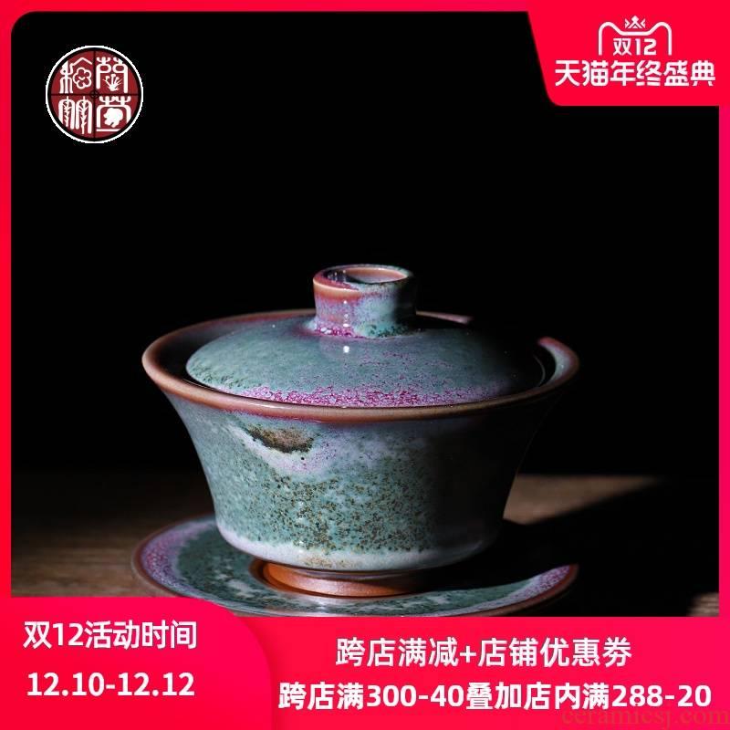 Jin jun porcelain up tureen tea cup single trumpeter catch a pot of pure manual firewood kung fu tea set three teapots