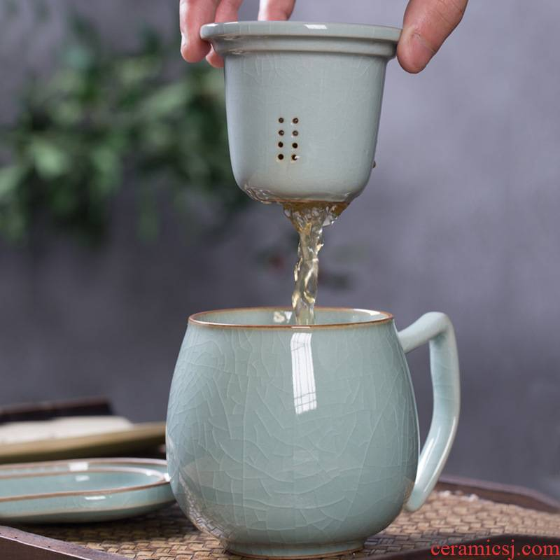 Longquan celadon calving ceramic filter cups with cover the office keller individuals dedicated home tea cups
