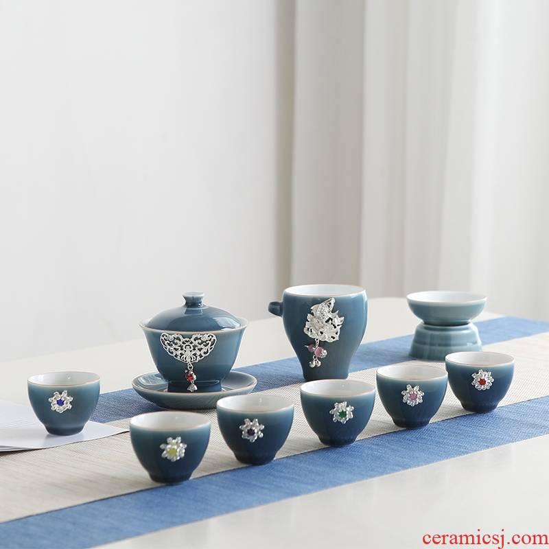 Qiao longed for a whole set of kung fu tea set suit household jingdezhen ceramic teapot teacup tureen contracted tea sets