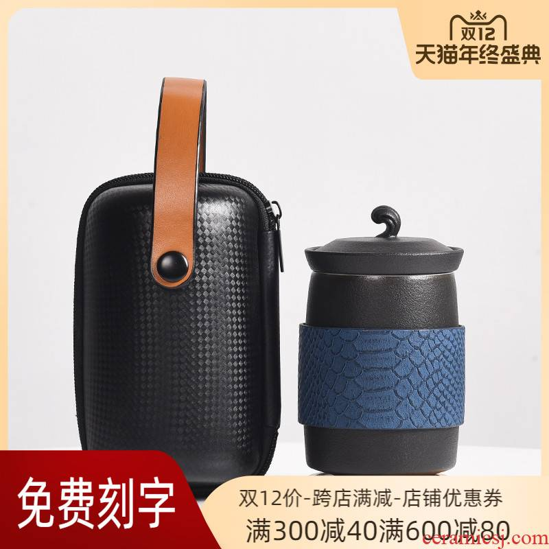 Contracted with a cup of portable ceramic cup silver cup 999 sterling silver travel office filter tea cup with cover