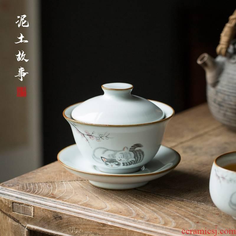 Your up cat tureen didn 't make household porcelain porcelain bowl office open three kung fu tea tea bowl finger bowl