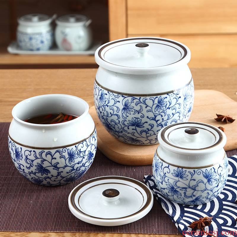 Chili oil tank round jar splashed with cover treasure bowl of food as cans of kitchen ceramic pot seasoning box seal pot