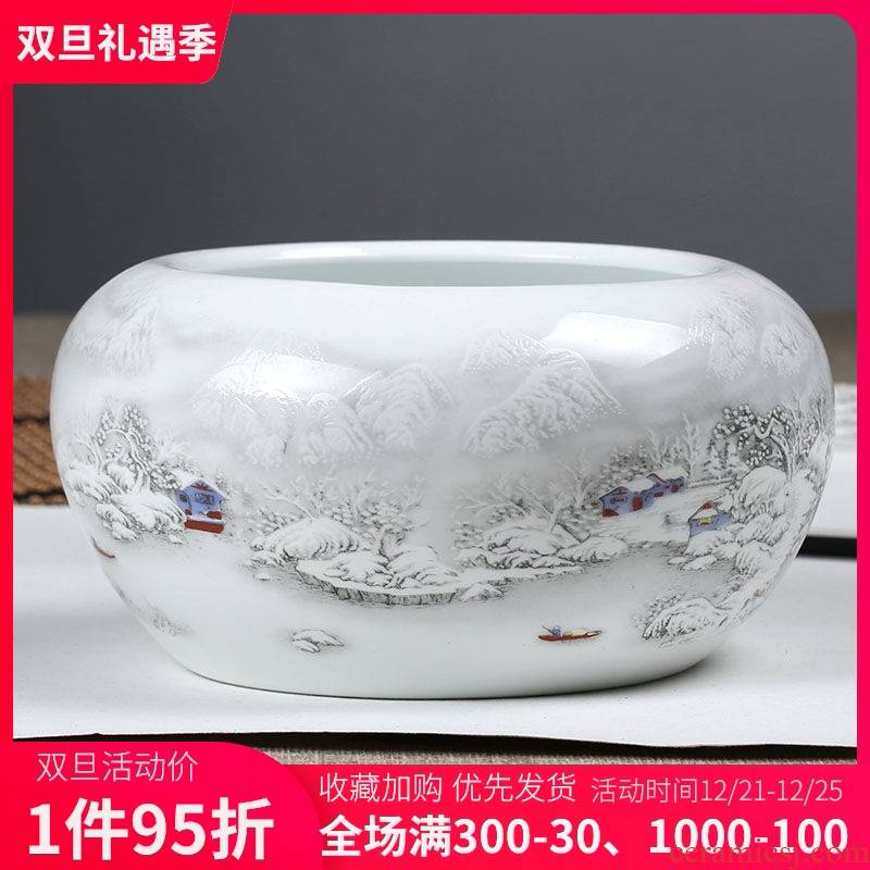 Jingdezhen ceramic pen XiCha XiCha sea household ceramic ashtray desktop garbage cylinder creative furnishing articles in the living room