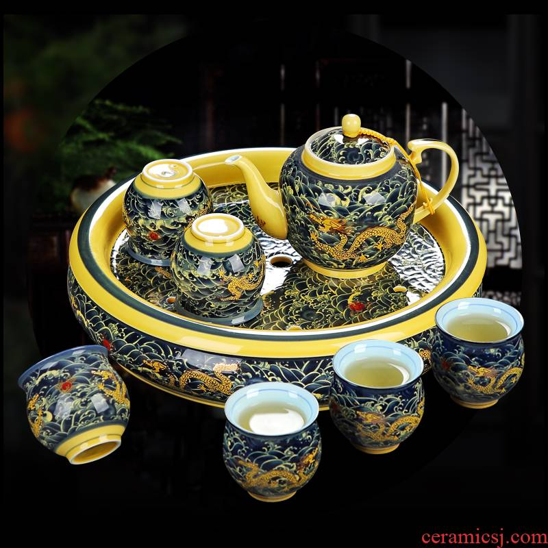 Jingdezhen ceramic kung fu tea set home sitting room of a complete set of double anti hot filter teapot tea tray cups