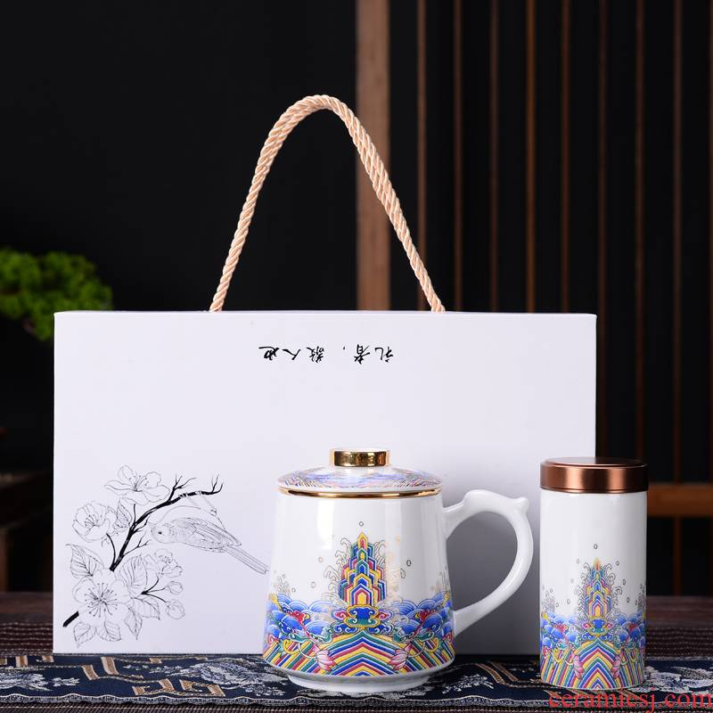 Jingdezhen tea colored enamel cup men 's and women' s tea cups with cover ceramic filter tea cups separate office