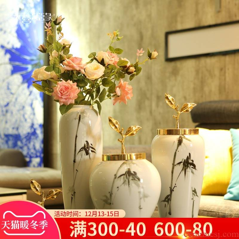 Jingdezhen ceramic vases, flower arranging is furnishing articles of modern light key-2 luxury sitting room porch ark of new Chinese style household ornaments