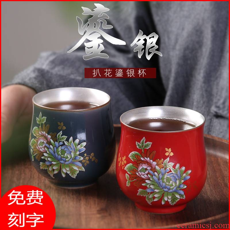 Jingdezhen tea set silver enamel glass ceramic cups coppering. As 999 sterling silver, silver kung fu master cup single cup size