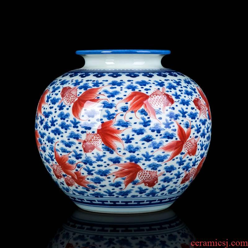 Jingdezhen porcelain youligong ceramic vase furnishing articles sitting room dry flower arranging flowers large Chinese desktop ornaments