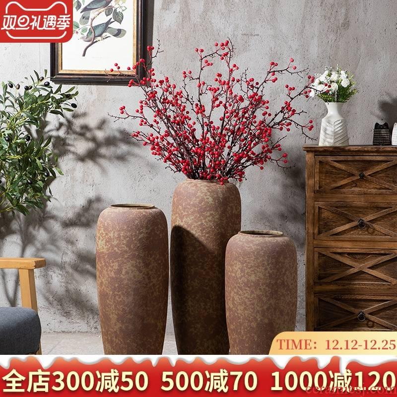 Vase retro ceramic large household yard landing simulation flower decoration suit flower arranging place Chinese Vase
